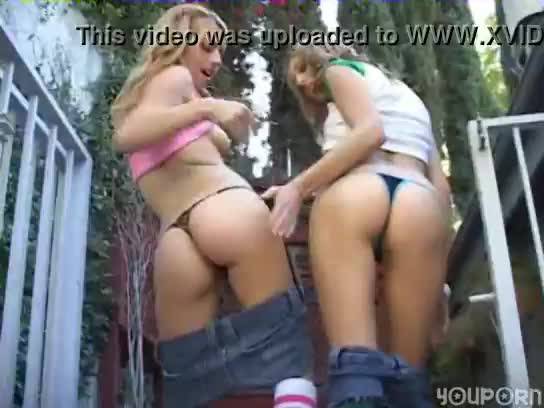 Two teen hotties do a striptease