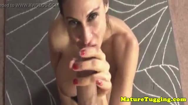 Hottest mature milf tugging on cock