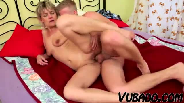 Old mature wife fucks and sucks her young boy