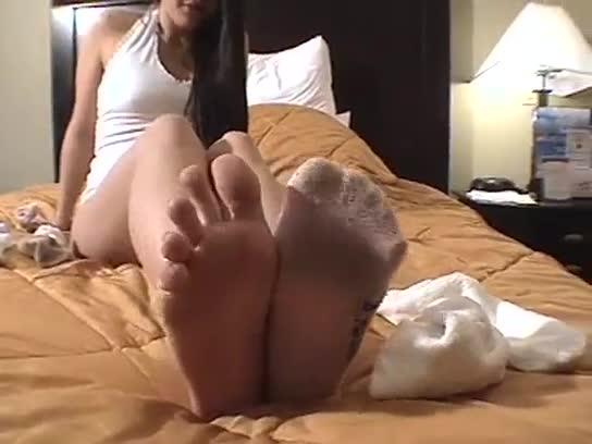 Cuming on stripy sock foot fetish cum
