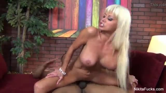 Blonde milf takes a big black cock