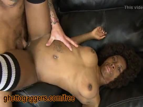 Ghetto black afro banged threesome interracial