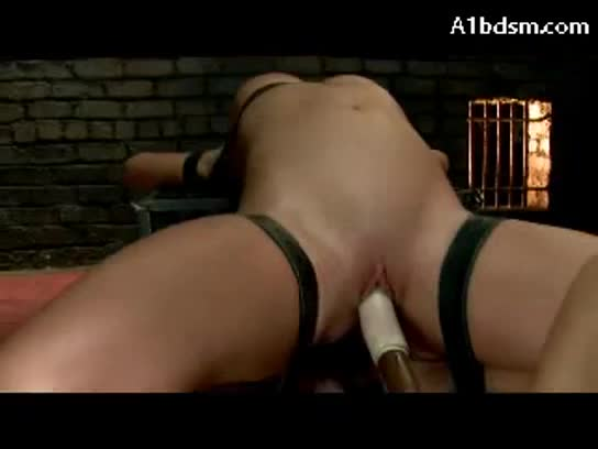 Tattoed girl tied with legs up getting her pussy fistedd stimulated with vibrator squirting to himself on the floor in the dungeon