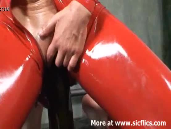 Blond with extreme red dildo in cunt