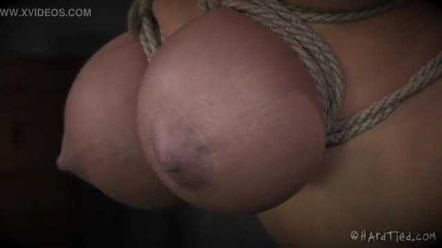 Cock and balls bondage with pink rope
