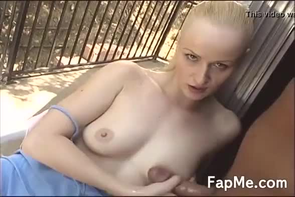 Naughty blonde chick gets her sexy boobs out and gives a handjob