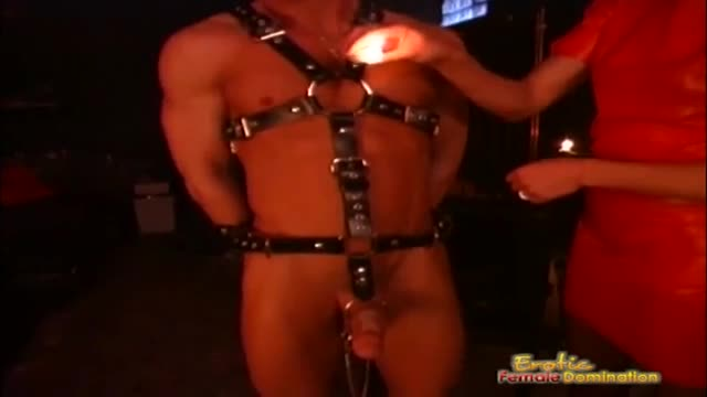 Female domination with amazing brunette mistress and her male slave