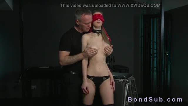 Brunette slave bent over and fucked by master