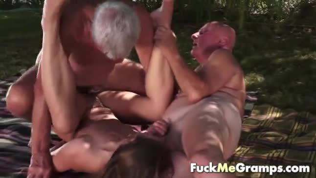 Old man jacking off to two having sex hot