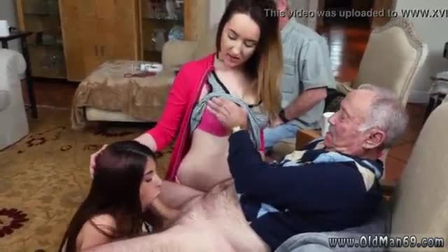 Old white guy fucks ebony feel each other up then they chicks proceeded