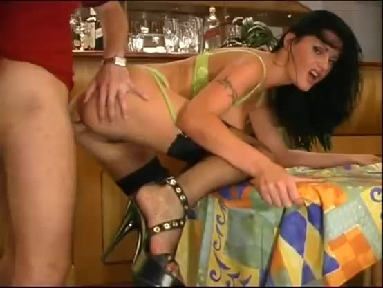 Brunette in black stockings anal