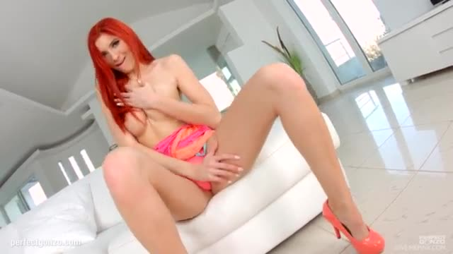 Givemepink redhead teases both of her holes