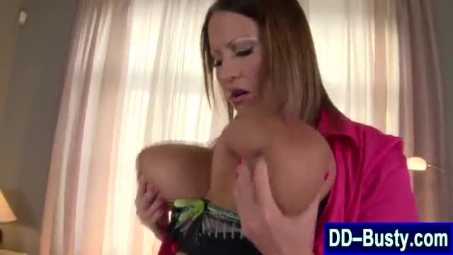 Busty blonde gives her man a titty fuck before he licks her