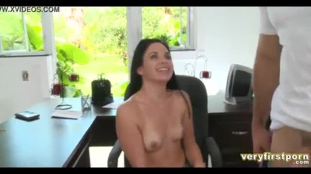 Pretty brunette does her first porn
