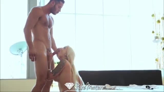 Pure mature blonde milf gets creampie horse riding school fuck