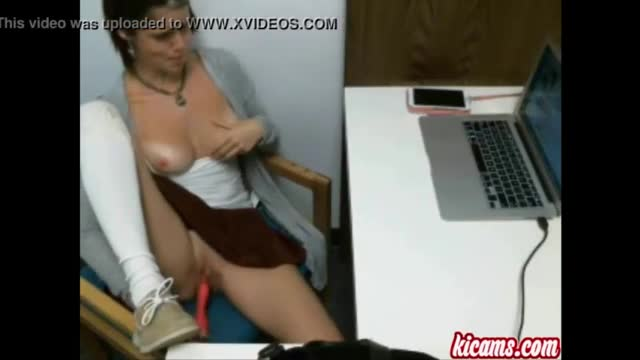 Hairy office girl strips and masturbates by troc