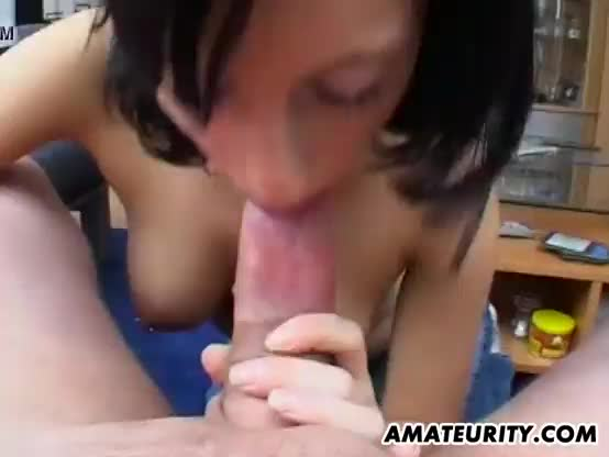 Busty young girlfriend full blowjob with cumshot