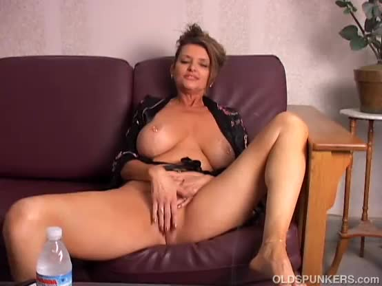 Hot british mom playing with her big boobs