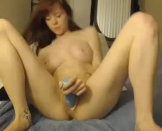 Cam girl with giant tits masturbates with big toys