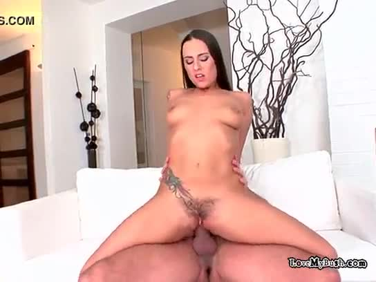 Busty brunette opens wide for cumshot