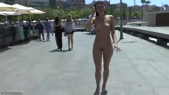 Nude public girl in barcelona
