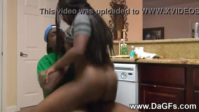 Big booty ebony milf cock riding kitchen