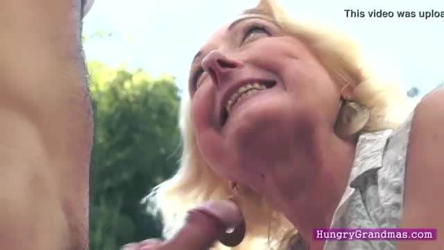 Granny makes out with young lover