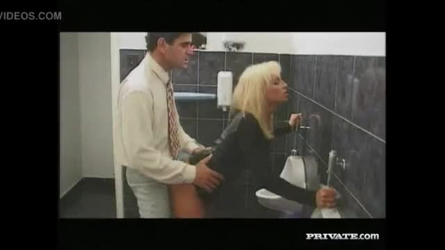 Sex in the toilet with facial cumshot