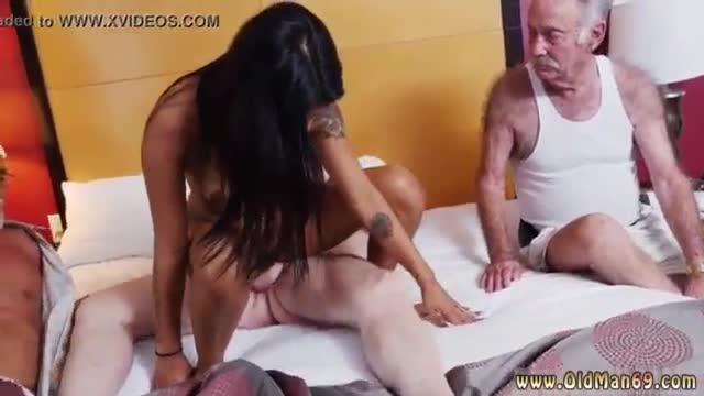 Old granny threesome staycation with a latin hottie