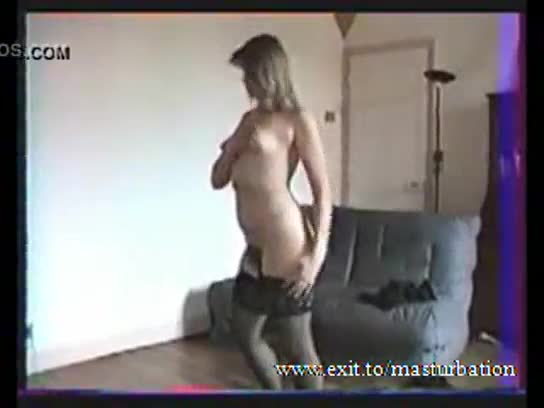 Amateur mature wife in stockings masturbating hairy pussy